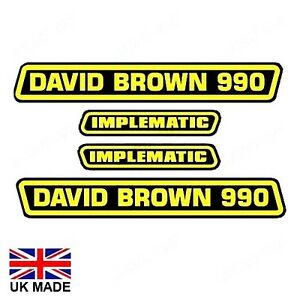 DECAL SET FOR DAVID BROWN 990 IMPLEMATIC TRACTORS