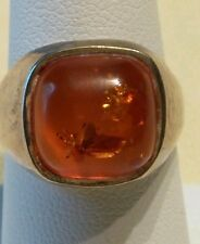 Amber & Sterling Silver Ring with a Bug in the Amber Stone; Size 7.25