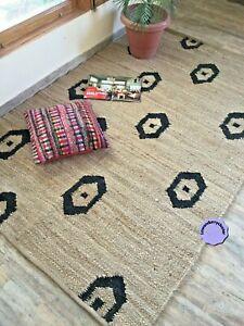 Rug Natural Jute Braided Beige Reversible Rug Hemp Carpet Modern Living Area Rug
