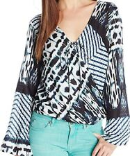 "NEW O'Neill ""Melissa"" Printed Blouse XS Navy Turquoise Black Shirt $52 NWT Top"