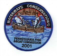 """2001 Pa Fish & Boat Comm 4"""" Patch Orginal Indian Hunters In Boat"""