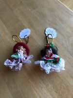 Lot of 2 Victorian Style Vintage Porcelain Doll Christmas Ornaments