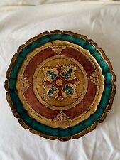 Vintage Florentine Toleware Decorative Tray Plate Green,Red&Gold Made in Italy