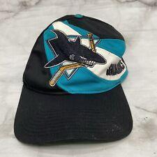 Vintage NHL Hockey San Jose Sharks Snapback Hat Spell Out Trucker Cap Bite Logo