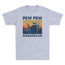 Черный кот пью пью madafakas смешной Кот гангстер с пистолетом винтаж мужская футболка