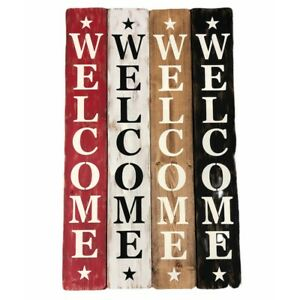 "3FT Welcome Sign w/ Stars 5.5"" Wide Wall Door Hanger Sitter Hand Made in USA"