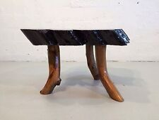 live edge slab coffee table redwood california mid century modern