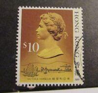 HONG KONG Scott #502b Θ used, postage stamp, $10 QEII, very fine