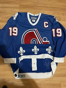 CCM Ultrafil Joe Sakic Quebec Nordiques Authentic NHL Hockey Jersey Blue 52 Rare