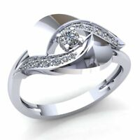 Natural 0.25ct Round Cut Diamond Ladies Bridal Halo Engagement Ring 14K Gold
