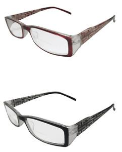 Bifocal Reading Glasses Black or Brown Laser Design Quality Frame Spring Hinged
