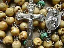 Handmade Bone Skull & Turquoise BEADS ROSARY Relic Cross CRUCIFIX NECKLACE GIFT