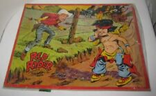 "Old Comic Book Cowboy Puzzle RED RYDER Stuck in Barb Wire Fence 14"" Jaymar 1951"