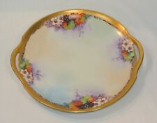 Antique THOMAS JORGENSEN Hand Painted Porcelain Tray Cake Plate Artist Signed