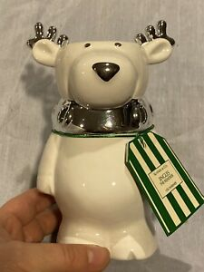 """Bath & Body Works JINGLES THE REINDEER 6"""" Candle Oil Warmer White Silver Collar"""