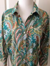 LANDS' END LOVELY PAISLEY PRINT BUTTON FRONT 3/4 SLEEVE BLOUSE - SIZE 14