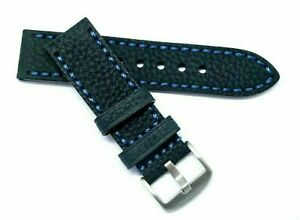 24mm Black/Blue HQ Oily Cowhide Leather Replacement Men Watch Band - Invicta 24