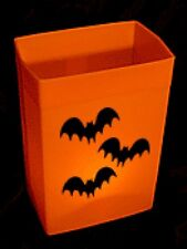 HALLOWEEN LUMINARY - ORANGE HARD SHELL BOX - CANDLES & SCENE - ONE SET