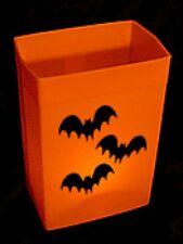 HALLOWEEN LUMINARY - ORANGE HARD SHELL BOX WITH CANDLES - ONE SET