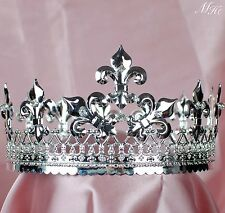 King Full Round Crown Renaissance Tiara Silver Rhinestone Pageant Party Costumes