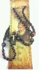 St. Pio Wood Rosary Beads with Prayer Card