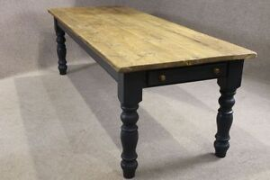 180CM FARMHOUSE KITCHEN TABLE WITH A PAINTED BASE IN RECLAIMED PINE WINCHCOMBE