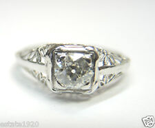 Antique Vintage Art Deco Diamond Engagement Ring 9Kt White Gold Ring Size 7 Fine