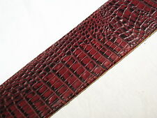 "LM 3"" faux Crocodile Alligator red LEATHER guitar STRAP - new"