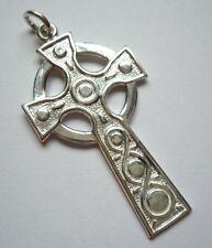 Sterling Silver Iona Style Sculptured Celtic Irish Cross Pendant UK Seller