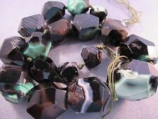 Black/ Green Stripe Agate Graduated Nuggets Faceted Beads 17pcs
