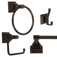 "4 Piece Bathroom Hardware Bath Accessory Set, 24"" Towel Bar, Oil Rubbed Bronze"