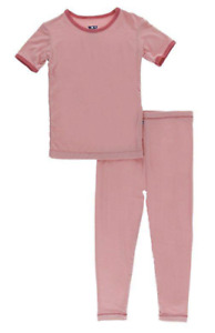 NEW Kickee Pants Pajama Set in Solid Strawberry with Red Ginger Trim, Size 12-18