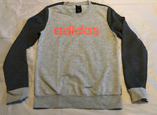 adidas Pullover Logo Crew Sweatshirt Women's Size Small Gray Coral