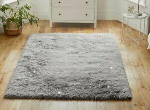 Sparkle Shaggy Rug Silky Soft Thick 6.5 Pile Dazzle Silver Grey Carpet 80x150cm