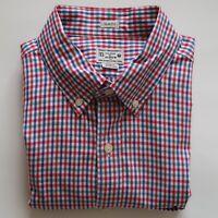 J.Crew Men's Slim Fit Red White Blue Gingham Button Down Shirt Size Medium