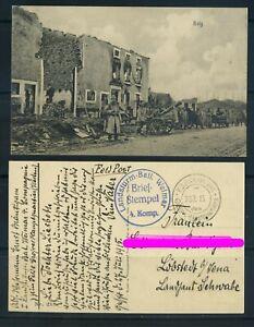 Karte 1.WK Feldpostkarte Landsturm-Batl. Weimar nach Löbstedt #h560