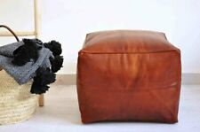 Moroccan leather pouf , handcrafted Ottoman pouf, handmade pouffe
