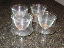 Set Four (4) Glass Shrimp Cocktail Iced Fruit Bowl Removable Liner