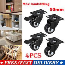 4 X Heavy Duty 100mm Rubber Swivel Castor Wheels Trolley Caster Brake 400kg U1