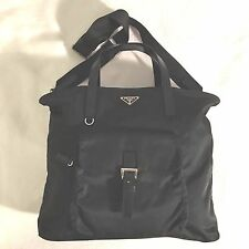 Prada Black Nylon Messenger Bag / Large Sized Tote W/ Front Pocket EUC