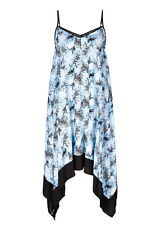 Blue FERN Black border Trapeze Asymmetrical hanky hem MIDI Sun dress size 14 NEW
