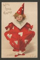 "[72503] 1908 POSTCARD ARTIST UNSIGNED ELLEN H CLAPSADDLE ""WITH LOVE'S GREETING"""