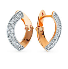 NEW Russian Earrings Rose gold plated Sterling Silver fine jewelry zirconia 2g