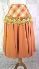 BOHO Bollywood Boutique Jewel Tone Orange Gold High Waist Skirt Plaid & Lace 6