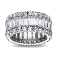 Sterling Silver Baguette Cut Wedding Band Ring with AAA quality CZ, Size 9