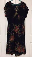 Dana Buchman Dress Silk Chiffon Cold Shoulder Red Sage Floral A-Line 12 Large