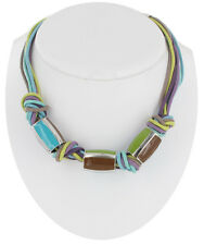 Necklace Rope Cord Knotted Multi Strand Enamel Bead Purple Green Turquoise Brown