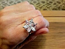 Brand new 14K White Gold Filled Pink Sapphire look Flower Ring  Sizes O +  O+1/