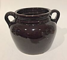 VTG 2 QT Bean POT BROWN Ceramic MIRROR Glazed Marked USA w/o LID