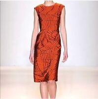 Lela Rose Dress 10 Burnt Orange Sheath Print Pleated Sleeveless Women's Cocktail